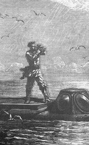 Alphonse de Neuville, «Le capitaine Nemo prit la hauteur du soleil», dans Jules Verne, Vingt mille lieues sous les mers, Paris, Hetzel, 1870, p.97.