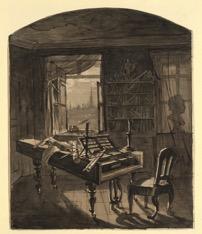Johann Nepomuk Hœchle (1790-1835), Le Salon d'étude de Beethoven, 30 mars 1827, Encre et lavis sur papier 25,6 x 21 cm © Wien Museum.