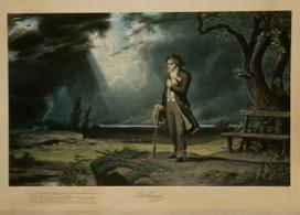 Carl Schweninger (1854-1912), Beethoven dans un paysage d'orage, troisième quart du xixe siècle, lithographie en couleur contrecollée sur carton, Paris, Musée de la musique © Musée de la musique / Jean-Marc Anglès